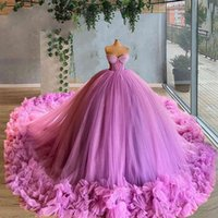 Sweetheart Puffy Prom Dresses 2021 Dubai Design Ball Gown Dress For Weddings Evening Gowns Tulle Tiered Evening Gown Party Night