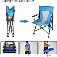 Camping chair Oversized Steel Tube Frame Folding 350 Pounds Capacity 600D PVC Powder-Coated Portable With Cup Holder And Cushion picnics sporting events