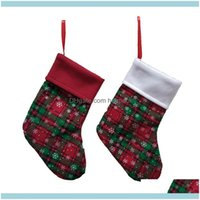 Home Garden Festive & Supplies Snowflake Plaid Stocking Decor Christmas Trees Ornament Party Decorations 9 Inch Candy Socks Bags Xmas Gifts
