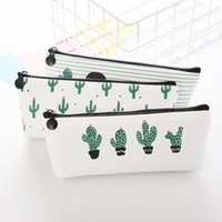 Fabric Canvas Cactus Pencil Case Bag School Pen Box Stationery Office Crayon Supplies Bags