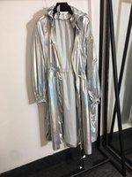 508 2021 Summer Coat Long Sleeve Hooded Brand Same Style Coat Fashion Womens Clothes Shiny trench coat Zipper Faluolan