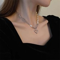 Pendant Necklaces AOMU French Gold Silver Color Asymmetry Metal Imitated Pearl Hollow Heart Necklace Irregular Geometric Lock For Women