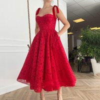 Vintage Short Full Lace Prom Dresses With Pockets A Line 2021 Sweetheart Neckline Red Tea Length Special Occasion Gowns Women Dress Evening Wear