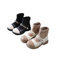Girls Boots Kids Shoes Childrens Footwear Autumn Winter Baby Short Boot Princess Moccasins Soft Pearl Socks Shoe B8451