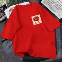 T-shirts pour hommes 2021 Été mignon timbre Tomate imprimé tomate col rond coton pure coton à manches courtes neutre à manches courtes à manches courtes