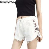 Shorts en jean Femmes Sexy Cross Cross Strap Shorts Yanqinghuan Nouvelle Mode Dames Tassel Head High Taille Summer Denim Short Blanc X0320