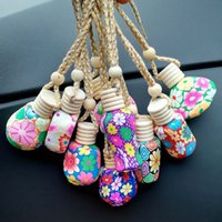 Perfume Bottle Polymer Clay Empty Perfume Glass Essential Oils Diffusers Fashion Car Pendant Car Hanging Ornament Packing Bottles DH8575