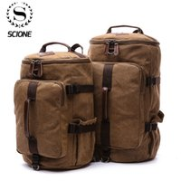 Scione Large Capacity Man Travel Bag Mountaineering Backpack Male Bags Canvas Bucket Shoulder Backpack Carry on Luggage bag LJ200921