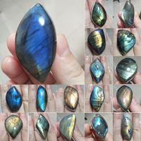 Cluster Rings Ring Natural Stone Irregular Shape Bead Blue Gold Labradorite Adjustable Finger For Women Men Jewelry Gift Cabochon