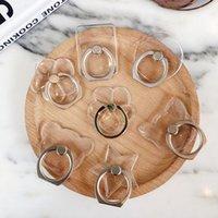 Clear Crystal Ring Ring Grip Suportes PC Transparentes PC 360 Graus Rotação Fivela Suporte Montagens Universal Cell Phone Suportes Kickstand 8 estilos
