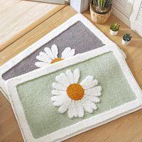 Carpets Bath Mat Non-Slip Rug Daisy Floral Kitchen Bathroom Absorbent Microfiber Anti-fall Door For Floor Toilet Household