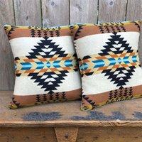 Geometrical pattern jacquard knitting pillowcase sofa cushion American style home decoration