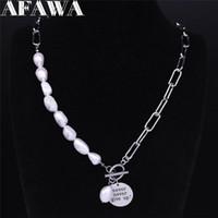 Punk niemals aufgeben Edelstahl Süßwasser Perlen Ermutigen Sprachaussage Halskette Schmuck Colier Femme N3706S01 Anhänger Halsketten