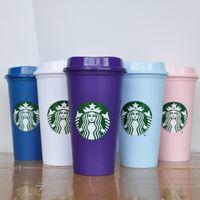 Starbucks Caneca 16oz Colortumblers Copo de suco bebendo plástico com lábio canecas Costom 5pcs 001