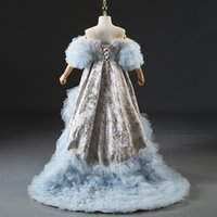 2021 Flower Girl Dresses Lace Applique High Collo Strass Strass Bambini Bambino Carino Tulle Ball Ago Abito PageANT Dress Floor Lunghezza Girl's Birthday Party