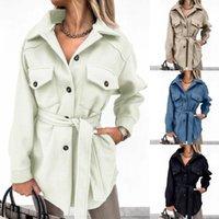 Women's Jackets 2021 Women Peacoat Trench Coat Casual Mid Long Overcoat Lapel Open Front Cardigan Outwear Woolen Fleece Winter With Belt
