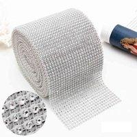 10 yard 24 reihen biegbare diamant mesh wrap rolle silbergold funkeln strass kristallband kunststoff diamant mesh ribbon dbc vt0773