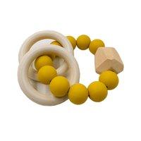 HJOT Natürliche Holz Ring Zähne für Baby Gesundheit Pflege Zubehör Infant Finger Übung Spielzeug Bunte Silikon Perlen Schnuller 905 V2