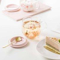 Bicchieri da vino 2021 Tazza da caffè in vetro sakura con coperchio sponceramico resistente al calore tazza di tè set Trasparente colazione con il latte bevanda