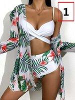 21SS Gathering Sexy Sling Three-piece Bikini Printed Split High Waist Women's Swimsuit