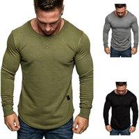 Erkek Hoodies Moda Tasarımcılar Euro Sonbahar Katı Yuvarlak Boyun Ters Üçgen Sehir Küçük Deri Etiket Uzun Kollu Tişörtü Kot Pantolon ve Pantolon için Mükemmel