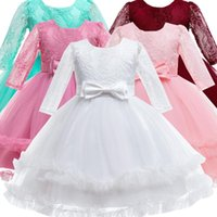 Girl's Dresses Long Sleeve White Wedding Dress Girl Baptism Party Birthday Kids For Pageant Children Christmas Vestidos Baby Clothes
