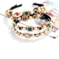 Bunte Edelstein Barock Stirnbänder für Frauen Diamant Haarschmuck Perle Stirnband Für Mädchen Krone Blume Haarbänder Kopf Wrap 300 U2