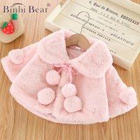 BINBI Медведь осень зима младенца новорожденного принцессы теплое меховое плащ куртка для девочек одежда младенческая верхняя одежда 0-3 года Дзьевина Дзецко