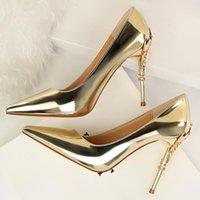 Klänning skor vogue kvinnor sexiga 10cm höga klackar pumpar dam designer metall carving guld bröllop brud kvinnlig prom parti röd