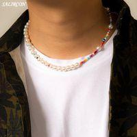 Boho Multicolor Beads 여성을위한 모조 진주 목걸이 남자 KPOP 빈티지 미적 가닥 체인 목에 패션 액세서리 펜던트 NEC