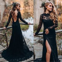 Black Lace Prom Dresses Long Sleeve 2021 robe de soiree Backless Mermaid Evening Gowns Custom Sheer Formal Women Party Dress