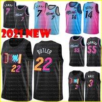 Black Jimmy 22 Butler Dwyane 3 Wade Jersey Neue Kyle 7 Lowry Basketball-Trikots Tyler 14 Herro Bam 13 Adebayo Duncan 55 Robinson Blau Weiß Rot