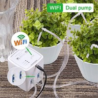 5 Sets Double Pump Garden Plant Wifi Watering Equipment Timer Automatic System Water Drip Irrigation Kit Mobile APP Control with 15M Pipe