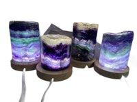 Natürliche grüne lila Regenbogen Fluorit Stein Licht Schmuck, Fluorit Edelsteine Dekor Schmuck, Home Raum Desktoplampe Schmuck