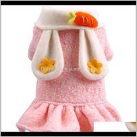 Apparel Supplies Home & Gardenears Winter For Princess Girls Carrot Decor Woolen Pink Warm Dress Coat Puppy Cat Outfit Pet Dog Clothing L Dr