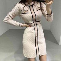 Zawfl autunno autunno donne inverno abito lavorato a maglia nuovo coreano manica lunga o-collo fasciatura maglione abbigliamento elegante signore abiti 210329