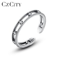 Cluster Rings CZCITY Authentic 925 Silver Sterling Simple Vintage Tiny Zircon Open For Women Carving Punk Style Fine Jewelry