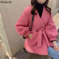 Woherb Faux Fur Coat Women Autumn Winter Casual Elegant Belt 2021 Korean Chic Solid Jacket Fleece Fluffy Overcoat Outwear Women's Jackets
