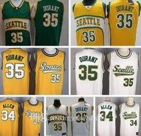 Top Qualität Vintage SatteltleSuspersonen SonicsJersey Kevin 35 Durant New Ray 20 Allen Billig Basketball Trikots Atmungsaktive Größe S-2XL