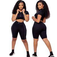 Women's Tracksuits Jogger Suit 2 Piece Yoga Set Women Knitting Gym Workout Running Sports Short Bra Tracksuit U-neck Fitness