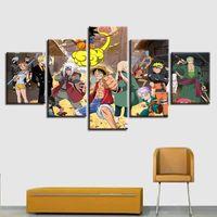 Dibujos animados pinturas posters en lienzo decoración del hogar moderno marco 5 pieza arte sala de estar sofá pared hd impreso imágenes pintura personalizado
