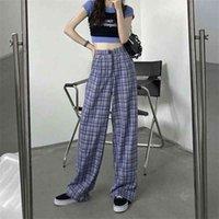 Karierte frau hosen vintage breite bein hosen weibliche beiläufige hohe taille herbst koreanische stil gerader streetwear boden 210517