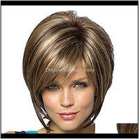 Frauen Haar Bob Haarschnitt Pixie-Stil mit Pony Blonde Braun Doppel Farbe Kurzer T76be-Perücken 8zzyf