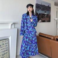 Two Piece Dress 2PCS Women Jacket Skirts Office Blue Flower Print Suits Vintage One-button Floral Blazer + Skirt Two-piece Suit