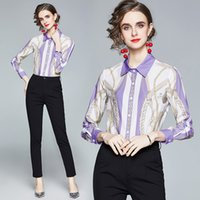2021 Elegant Women Chain Printed Blouses Button Long Sleeve New Fashion Designer Runway Ladies Casual Office Lapel Shirts Tops Spring Summer