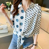 Women's Blouses & Shirts The polka dot arch shirt button vintage chiffon short sleeve shirts will see tops woman chemisier femme clothes VBAY