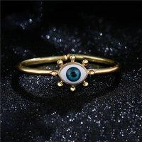 18K Gold 3D Devil's Open Bracelet Copper Cuff Bracelets Size Turkish Blue Eye Luxury Jewelery Gifts for Women