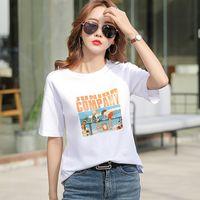 Camiseta 2021 Verano Nuevo Dibujos animados Suje Impresión Absorbente Camisa de la parte inferior de las mujeres Coreano Casual de manga corta femenina