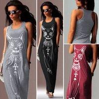 Women Summer Dress 2020 Cat Animal Print Sleeveless Casual O Neck Maxi Dresses Dropshiping Vestidos WJ308
