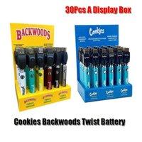 Cookies Backwoods Law Twist Preheat VV Battery 900mAh Bottom Voltage Adjustable Usb Charger Vape Pen 30Pcs with Display Box